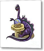 Illustration Of A Plateosaurus Fortune Metal Print