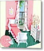 Illustration Of A Victorian Style Pink And Green Metal Print