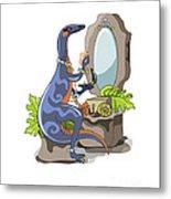 Illustration Of An Iguanodon Putting Metal Print