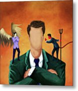 Illustration Of Businessman Getting Advice Metal Print