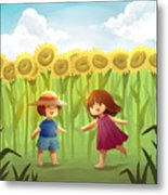 Illustration Of Friends Playing In Sunflower Field Metal Print