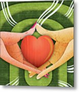 Illustration Of Hands With Heart Metal Print