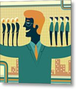 Illustration Of Leader Carrying Business People On His Arms Metal Print