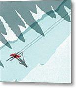 Illustration Of Man Skiing During Metal Print