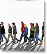 Illustration Of People Walking On Metal Print