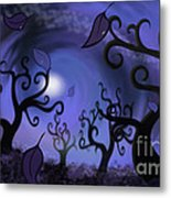 Illustration Print Of Spooky Forest Of Curly Trees Metal Print