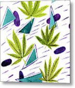 Illustrations Of The Cannabis Leaf Metal Print