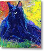 Impasto Black Cat Painting Metal Print