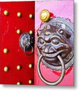 Imperial Lion Door Knocker Metal Print by William Voon