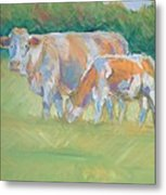 Impressionist Cow Calf Painting Metal Print