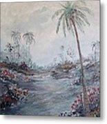 Impressionistic Palms Metal Print