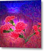 Impressions Of Pink Carnations Metal Print by Joyce Dickens