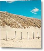 In A Line. Coastal Dunes In Holland Metal Print