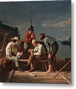 In A Quandary, Or Mississippi Raftsmen Metal Print