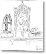 In And Out Boxes With Pope's Mitre And Yankees Cap Metal Print