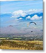 In Flight - Paragliders Taking Off High Over Maui. Metal Print