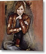 In Her World, 2005 Pen & Ink With Oil On Paper Metal Print