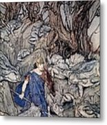 In The Forked Glen Into Which He Slipped At Night-fall He Was Surrounded By Giant Toads Metal Print by Arthur Rackham