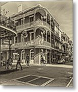In The French Quarter Sepia Metal Print