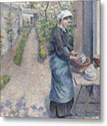 In The Garden At Pontoise A Young Woman Metal Print