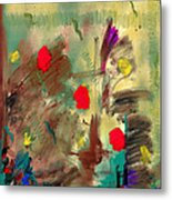 In The Garden  Square Metal Print
