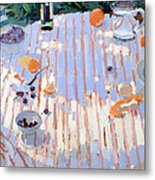 In The Garden Table With Oranges  Metal Print by Sarah Butterfield
