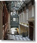 In The Hallway - Peabody Library Metal Print