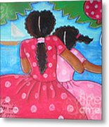 in the park by the sea by Elaine Jackson Metal Print
