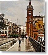 In The Rain - Puente De Triana Metal Print