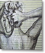 In The Shower 2- Portrait Of A Woman Metal Print