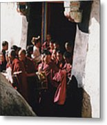 In Tibet Tibetan Monks 5 By Jrr Metal Print