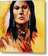 Maiden In White Feather And Beads Metal Print