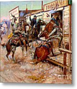 In Without Knocking By Charles M. Russell Metal Print