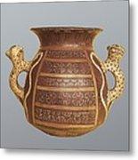 Inca Vase With Geometric Decoration Metal Print