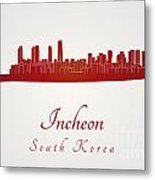 Incheon Skyline In Red Metal Print