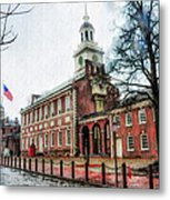 Independence Hall From Chestnut Street Metal Print