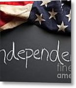 Independent Political Party Sign On Chalkboard Metal Print