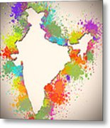 India Watercolor Map Painting Metal Print