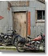Indian Chout And Chief Bobber At The Old Okains Bay Garage Metal Print