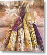 Indian Corn Painterly Effect Metal Print
