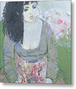 Indian Earring Dark-haired Girl In Green Oil On Canvas Metal Print