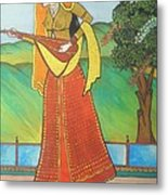 Indian Lady Playing Ancient Musical Instrument Metal Print
