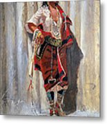 Indian Maid At Stockade By Charles Marion Russell Metal Print