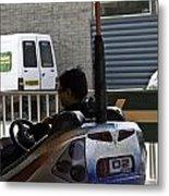 Indian Man Enjoying In A Bumper Cars Ride In An Entertainment Park Metal Print
