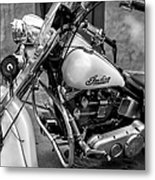 Indian Motorcycle In French Quarter-bw Metal Print