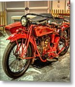 Indian Motorcycle With Sidecar Metal Print