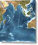 Indian Ocean Sea Floor Topography Metal Print