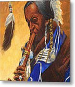 Indian Playing Flute Metal Print