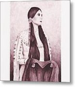 Indian Sioux Maiden Metal Print by Billie Bowles