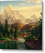 Indian Village Trapper Western Mountain Landscape Oil Painting - Native Americans -square Format Metal Print